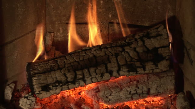 HD 1080i PAL Fire burning in a fireplace (Loop) video