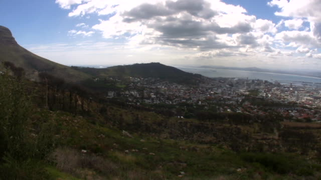 HD 1080i Pan of Cape Town city  table mountain national park stock videos & royalty-free footage