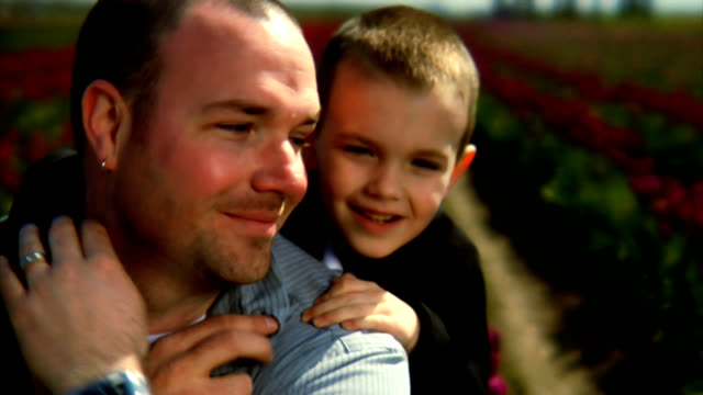HD 1080p - Father and Son at tulip fields video