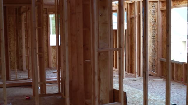 1080p footage of House Construction Framing