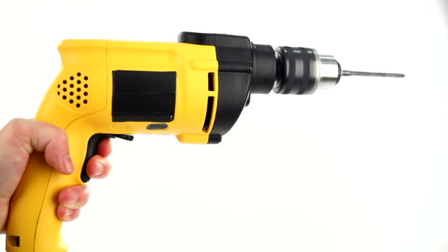 1080p HD hand drill on white video