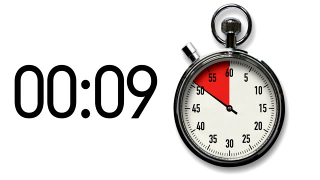 10-Second Stopwatch Countdown on White with digital readout