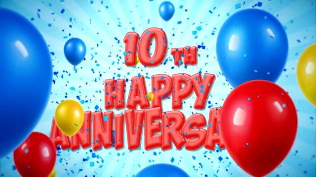 vídeos de stock, filmes e b-roll de 10 feliz aniversário vermelho texto aparece no confetes caindo de explosões de popper e partículas de glitter, colorido voando balões seamless loop animação para desejos saudação, festa, convite, cartão. - data especial