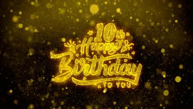10. happy birthday blinking text wünsche grußkarte, einladung, feier feuerwerk - geburtstagskerze stock-videos und b-roll-filmmaterial