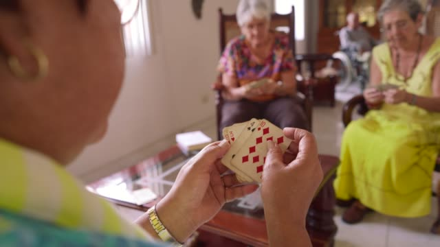 11-Old Women Have Fun Playing Card Game In Hospice video