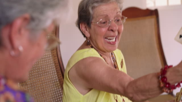 12-Old Women Enjoy Playing Card Game In Hospice video
