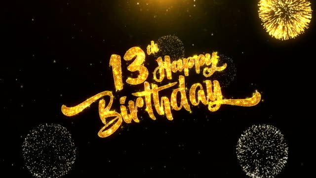 13th Happy Birthday Greeting Card Text Reveal From Golden Firework Crackers On Glitter Shiny Magic Blue Confetti Video