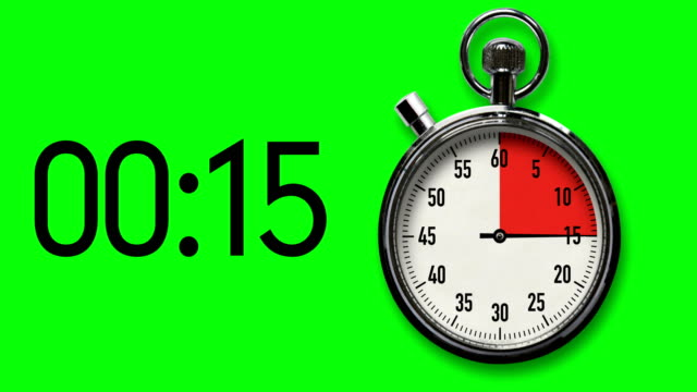 15-Second Stopwatch Countdown on Chroma Key Background with digital readout