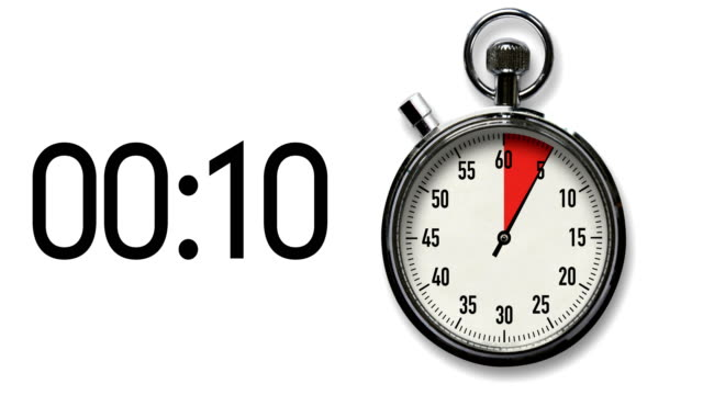 15-Second Stopwatch Countdown on White with digital readout