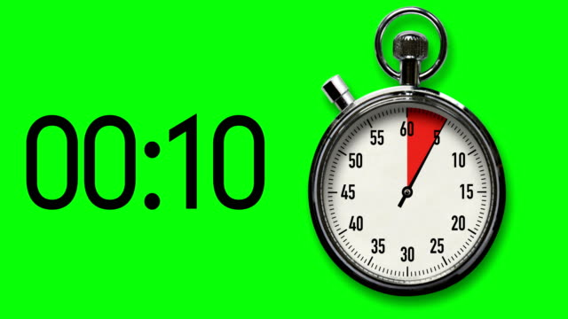15-Second Stopwatch Countdown with Chroma Key Background