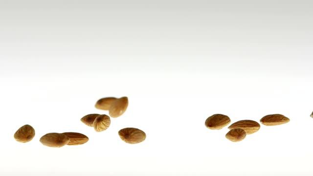 vídeos de stock e filmes b-roll de 180 fps super-slow motion amêndoas caindo sobre superfície branca - amendoas