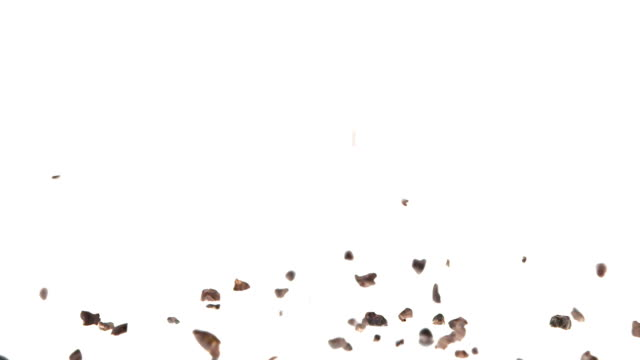 180fps Super Slow Motion Cacao Nibs Falling on White Surface video
