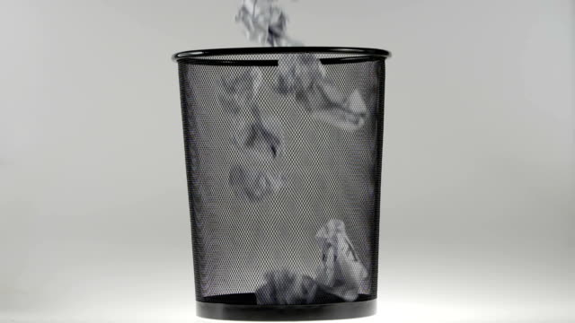 180fps Super Slow Motion Crumpled Paper Ball Falling into a Bin video