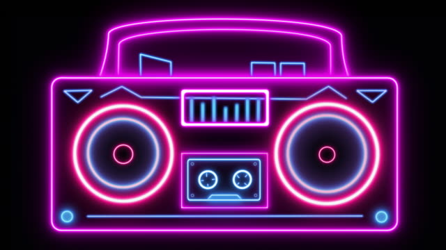1980s style ghetto blaster with looping vibrating speakers and rolling cassette player