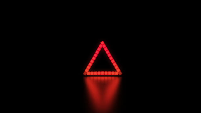 1980s style retro inspired 3D triangle background with fluorescent LED lighting