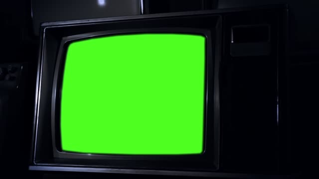 1980s Television With Green Screen Stock Video - Download