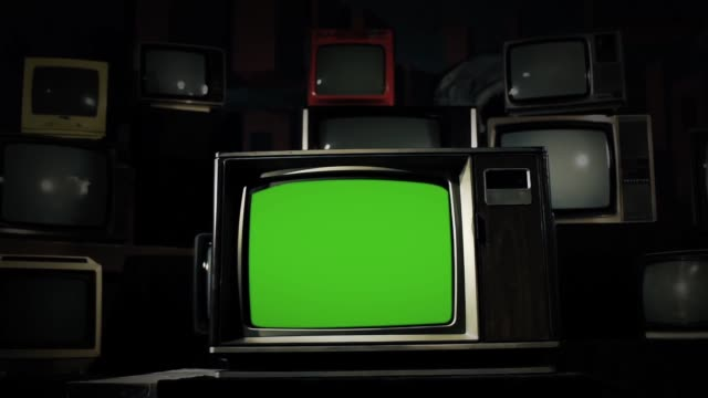 "1980s Tv Green Screen With Many Old Tvs. 1980s Tv Green Screen With Many Old Tvs. Dolly Shot. Ready to replace green screen with any footage or picture you want. You can do it with ""Keying"" (Chroma Key) effect in Adobe After Effects or other video editing software. Full HD. the past stock videos & royalty-free footage"