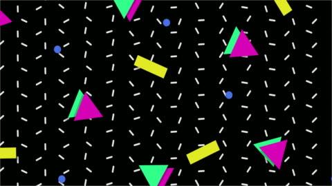 vídeos de stock e filmes b-roll de 1990s style animated background pattern - forma