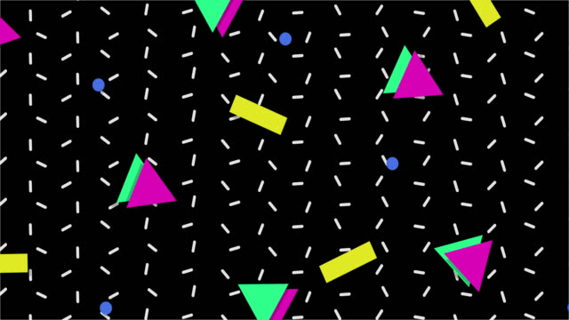 1990s Style Animated Background Pattern A retro 1980-90s style animated background with different colors and geometric shapes. Computer animated pattern in 4K resolution. geometric background stock videos & royalty-free footage