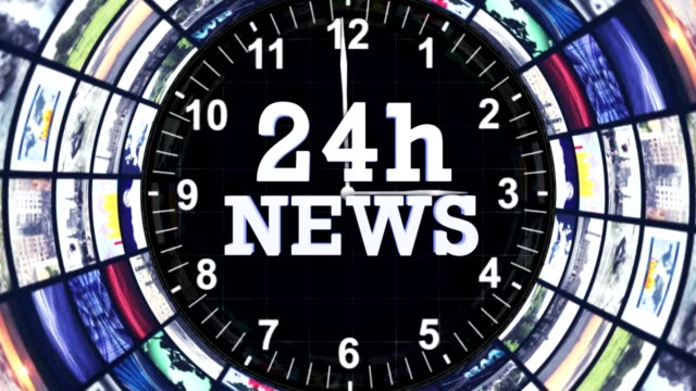 24h NEWS Text Animation and Earth, Loop