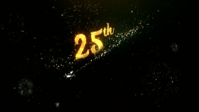 25th anniversary greeting text made from sparklers light dark night sky with colorfull firework. - годовщина стоковые видео и кадры b-roll