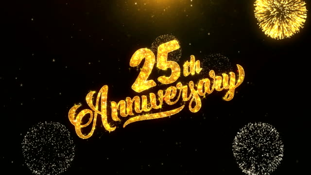 25th Happy Anniversary Greeting Card Text Reveal From Golden