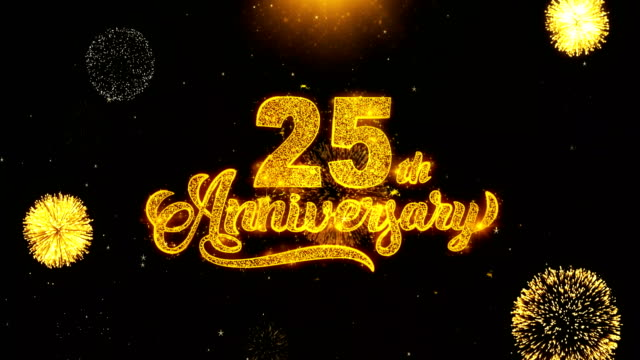 25th Happy Anniversary Wishes Greetings card, Invitation, Celebration Firework Looped