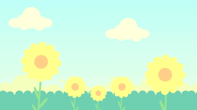 2d animation of  green grass ,flowers and  blue sky with clouds - spring stock videos & royalty-free footage