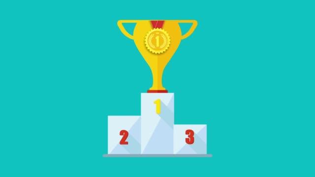勝者表彰台、チャンピオンの場所と2d アニメーション。 - メダル点の映像素材/bロール