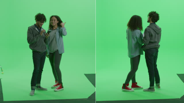 Video 2-in-1 Split Green Screen Collage: Young Boy, Girl Talking, Have Fun, Check Social Media and Internet Using Smartphone. Multiple Angles Pack: Side, Semi-Side, Back View. Chroma Key Background Montage