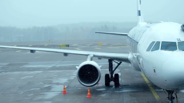 4K 2Shot :Bad Weather Aircraft Docking with boarding bridge before take off at international Airport