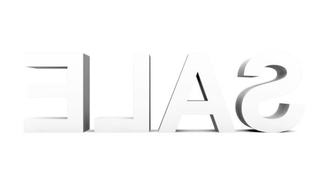 vídeos de stock, filmes e b-roll de sale - 30 qps loop com alpha matte, antes considerada em preto, pronto para composições em letras 3d rotação cinza em branco - característica arquitetônica