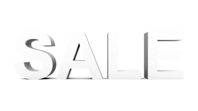 SALE - 30fps loop with alpha matte, pre-rendered on black, ready for compositing - gray 3d letters moving up and down on white video