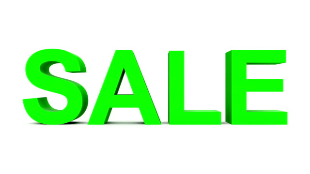 SALE - 30fps loop with alpha matte, pre-rendered on black, ready for compositing - green 3d letters moving up and down on white video