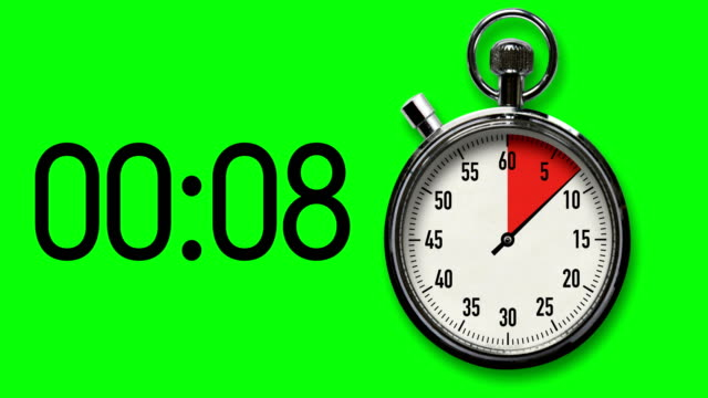 30-Second Stopwatch Countdown on Chroma Key Background with digital readout