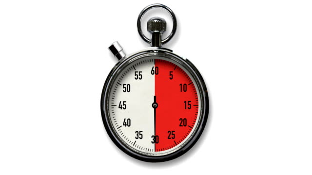 30-Second Stopwatch Countdown on White Background