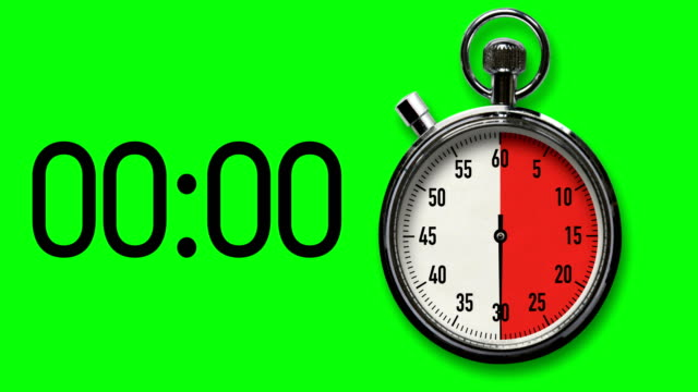 30-Second Stopwatch Countdown with Chroma Key Background Time-lapse of stopwatch on Chroma Key background counting down in red to 30-second deadline along with digital countdown readout. timer stock videos & royalty-free footage