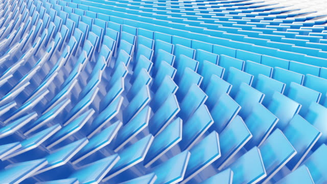 3d 4K background animation footage with flipping tile white and blue geometric