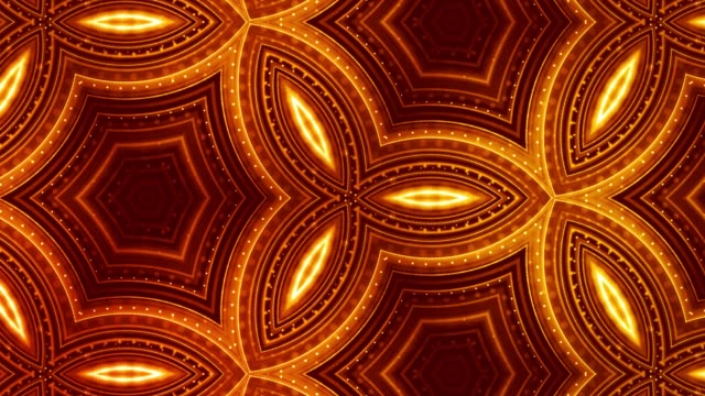 3d 4k particles kaleidoscopic abstract background. Smooth looped animation of sci-fi theme. Gold luxury particles form complex structures and pattern