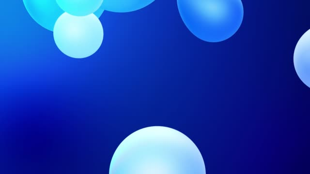 3d abstract background with droplets of molten wax merge and fly apart drops in liquid. Subsurface scattering material with internal blue glow. Seamless loop in 4k. 82