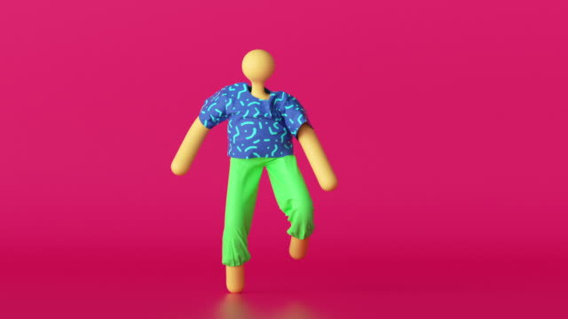 3d abstract cartoon character in colorful clothes over pink background, dancing hipster person loop animation, modern minimal seamless motion design.