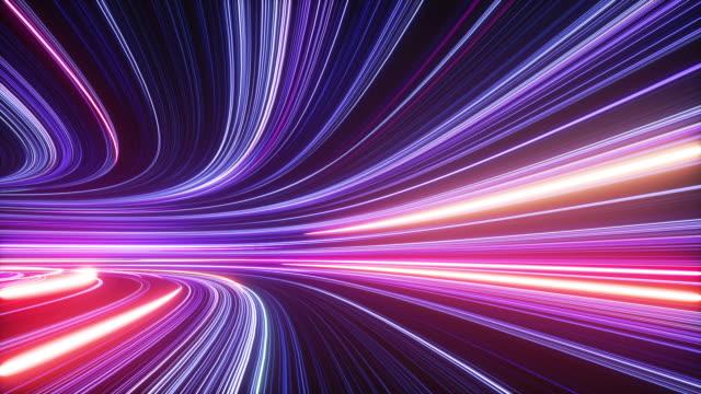 vídeos y material grabado en eventos de stock de fondo de neón abstracto 3d, túnel girando a la izquierda, rayos ultra violetas, líneas brillantes, realidad virtual, velocidad de la luz, cuerdas de espacio y tiempo, luces nocturnas de la carretera. animación de bucle sin costuras - imagen en bucle