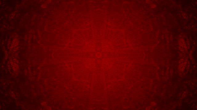 vídeos de stock e filmes b-roll de 3d abstract red colored kaleidoscope. - mosaicos flores