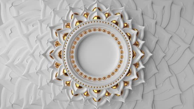 vídeos y material grabado en eventos de stock de fondo asiático decorativo de oro blanco abstracto 3d, marco redondo en blanco animado con espacio de copia, filas giratorias de pétalos de loto, animación de bucle de diseño mandala - mandala