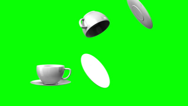 3d animation falling cup and saucer (green screen, alpha) video