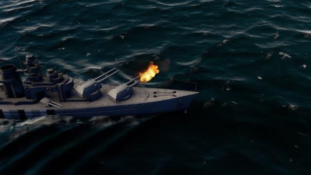 3d animation of a battleship firing heavy caliber guns at high speed