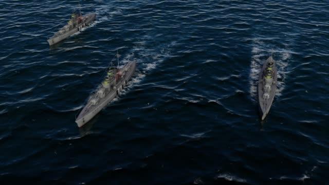 vidéos et rushes de animation 3d d'une flotte de cuirassés dans l'océan ouvert - première guerre mondiale