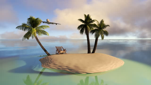 3d animation of a tropical island in the ocean.  Airplane flight to an exotic vacation in an ideal location in the middle of the sea