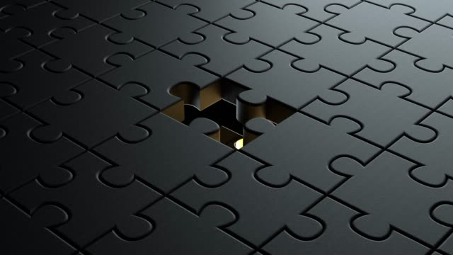 3d animation of black puzzle pieces background texture with a golden colored one in center