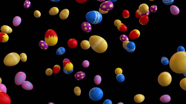vídeos y material grabado en eventos de stock de animación 3d de huevos color cae con alfa - pascua
